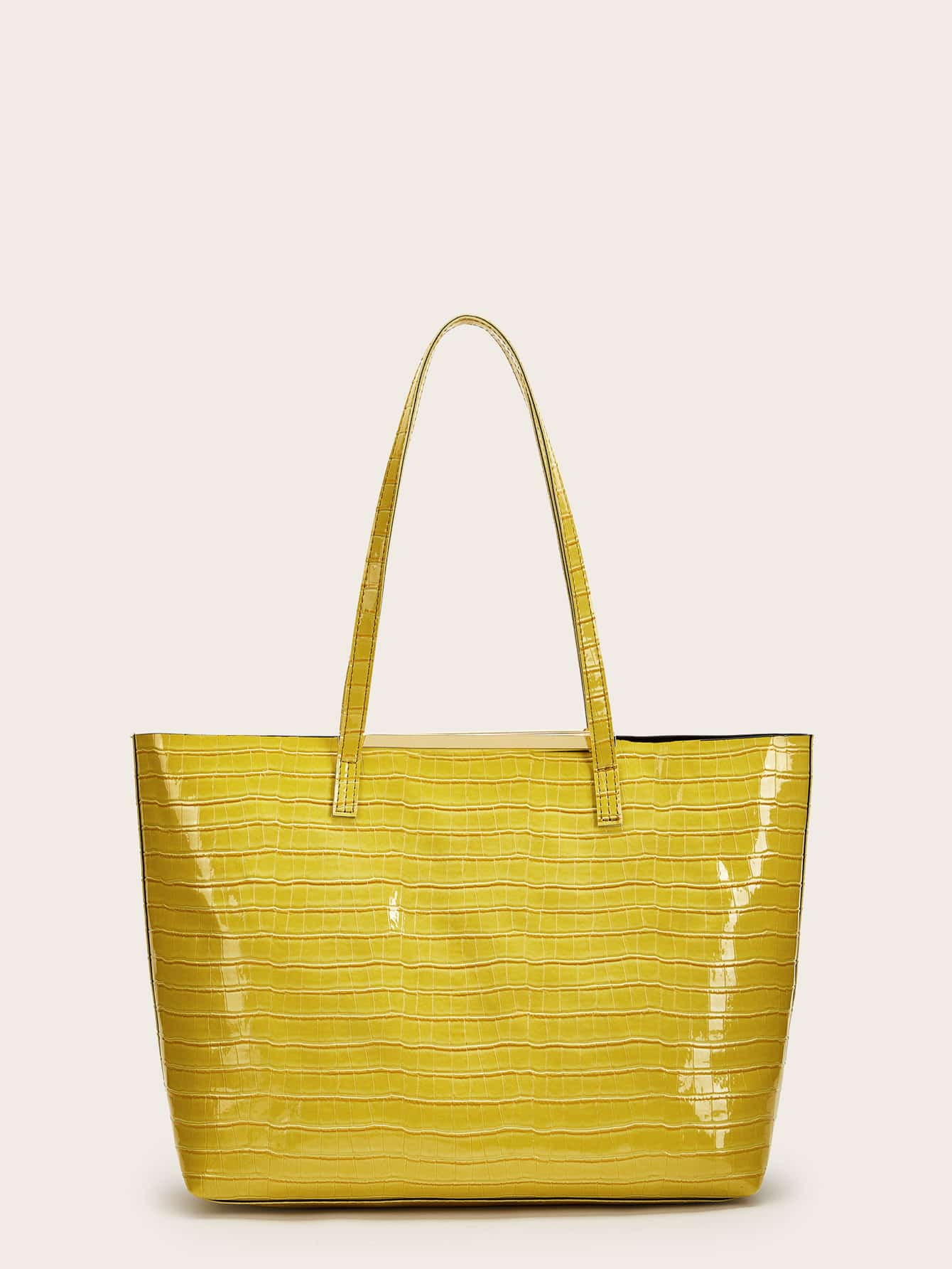 Фото - Крокодиловая патентная большая сумка от SheIn цвет жёлтый