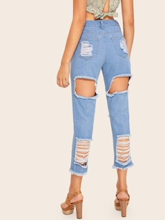 Light Wash Destroyed Ripped Raw Hem Jeans