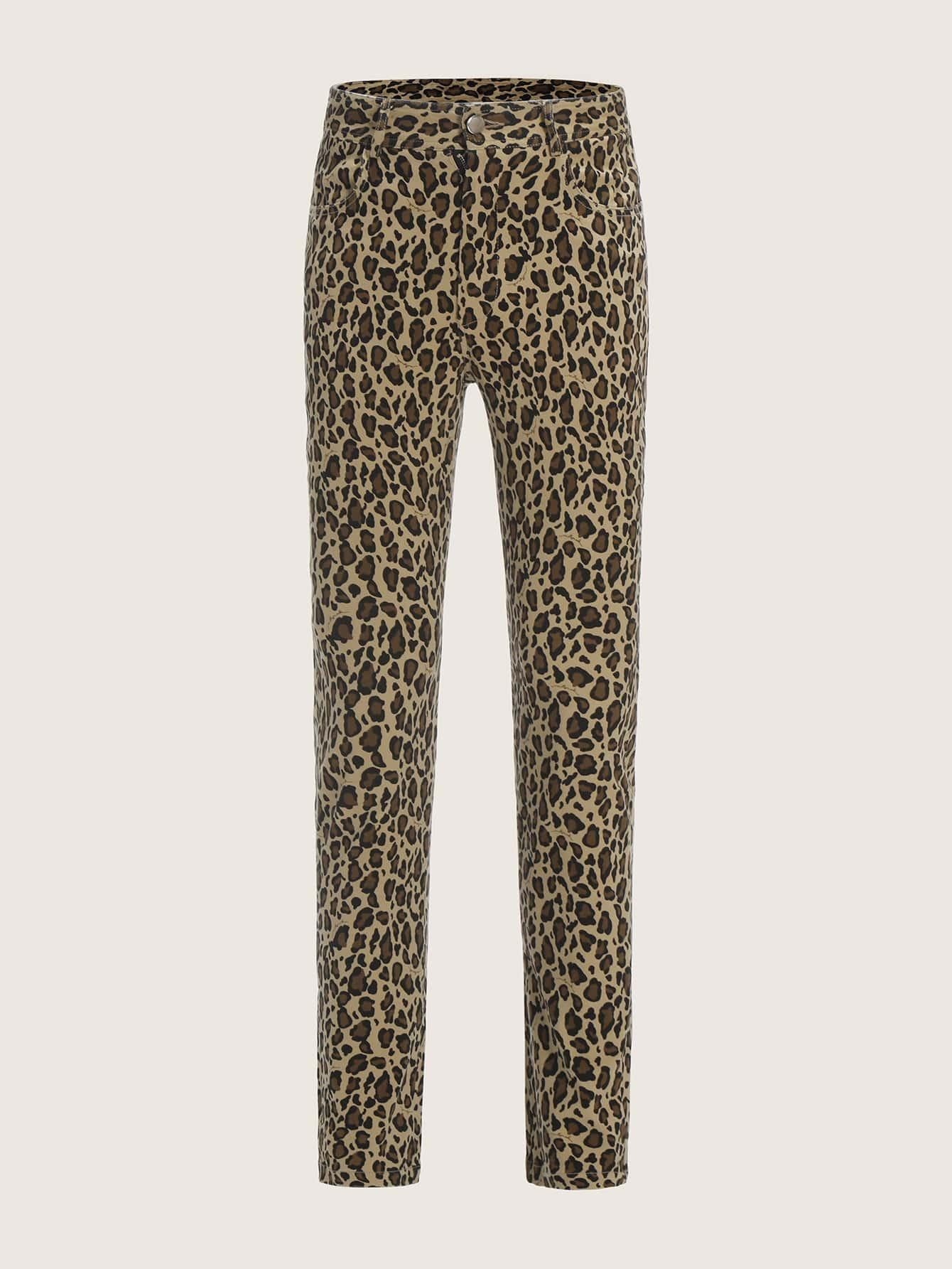 Купить Мужские леопардовые брюки с карманом, null, SheIn