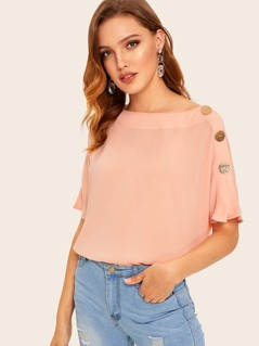 Boat Neck Buttoned Detail Top
