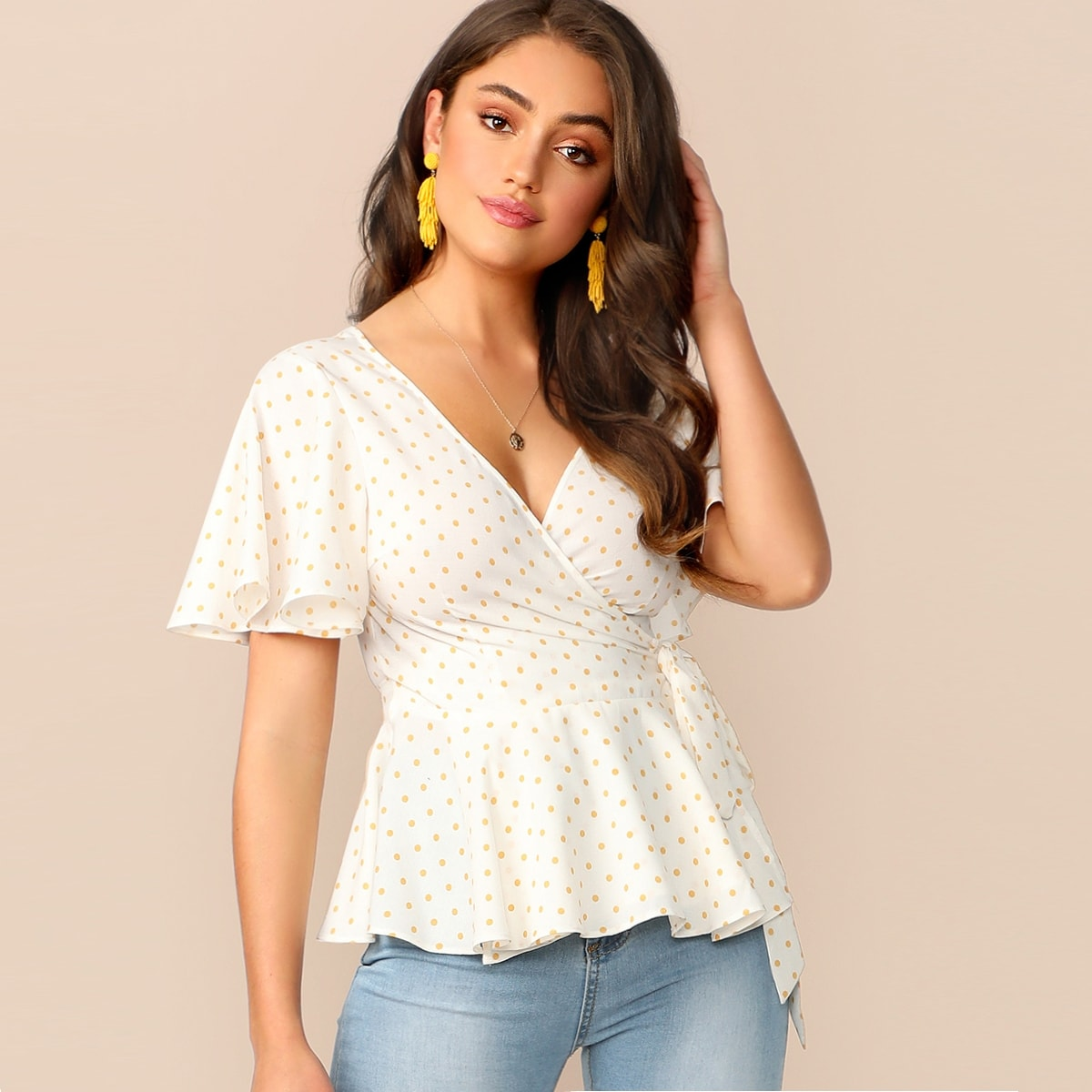 SHEIN / Cutout Back Surplice Belted Peplum Dot Blouse