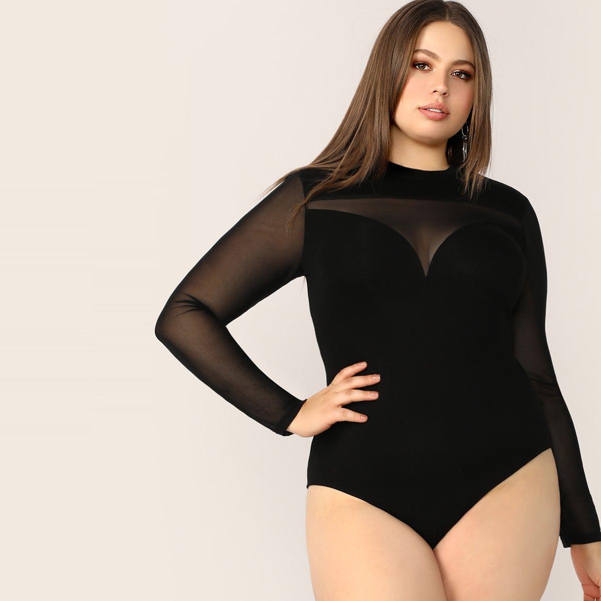 Zwart Bodysuits grote maten