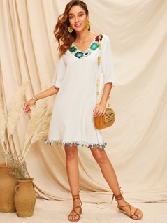 Colorful Crochet Front Tassel Hem Cover Up