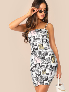 Allover Figure Print Bodycon Cami Dress