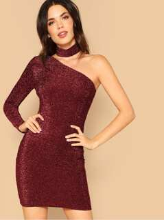 One Shoulder Glitter Dress With Choker