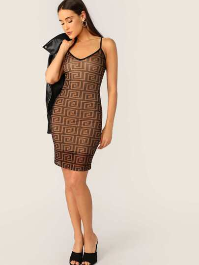 Greek Fret Print Sheer Slip Pencil Dress