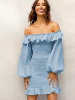 Foldover Front Lantern Sleeve Shirred Dress Without Belt