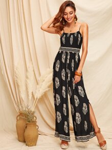 Tribal Print Shirred Bodice Split Side Cami Jumpsuit