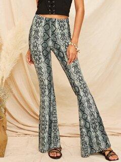 Snakeskin Print Flare Leg Pants
