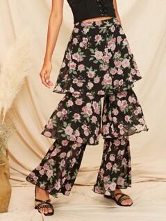 Floral Wide Band Waist Layered Ruffle Pants