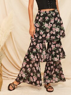 Floral Wide Band Waist Layered Ruffle Pants