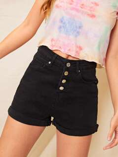 Button Front Cuffed Hem Denim Shorts