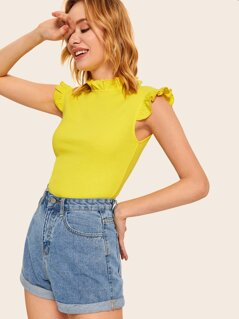 Neon Yellow Frill Trim Top