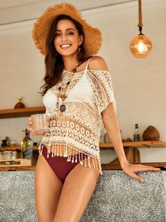 Fringe Trim Mesh Insert Guipure Lace Cover Up