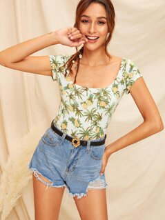 Scoop Neck Pineapple Print Tee