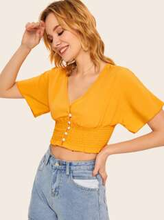 Button Front Frilled Shirred Hem Top