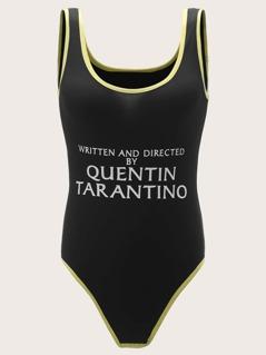 Slogan Print Contrast Binding Bodysuit