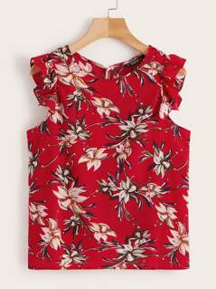 Allover Botanical Print Ruffle Trim Top