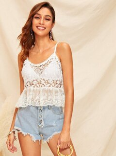 Embroidered Mesh Hem Guipure Lace Cami Top