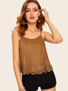Scallop Edge Laser Cut Suede Cami Top