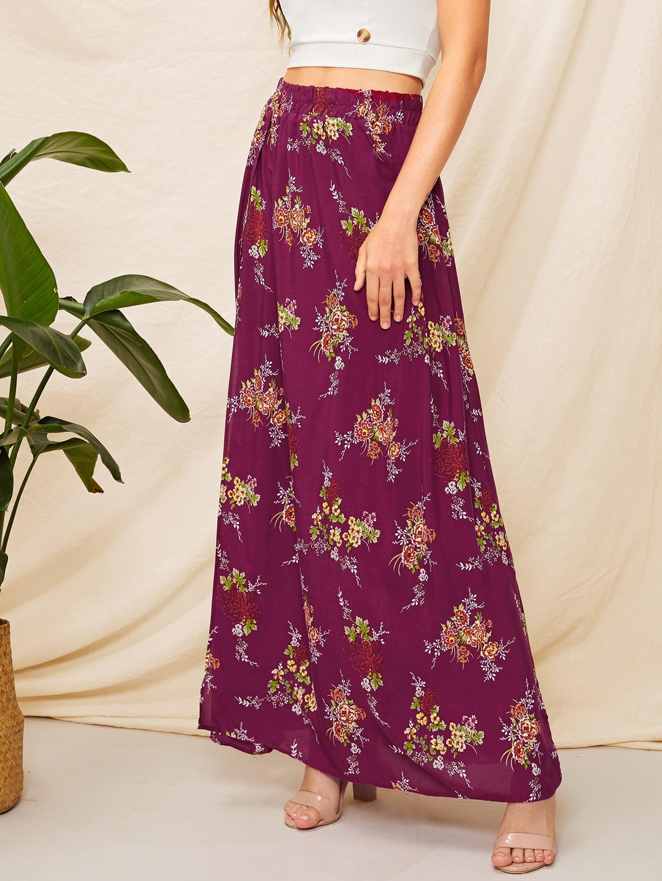 SHEIN / Falda maxi con estampado floral de muslo con abertura