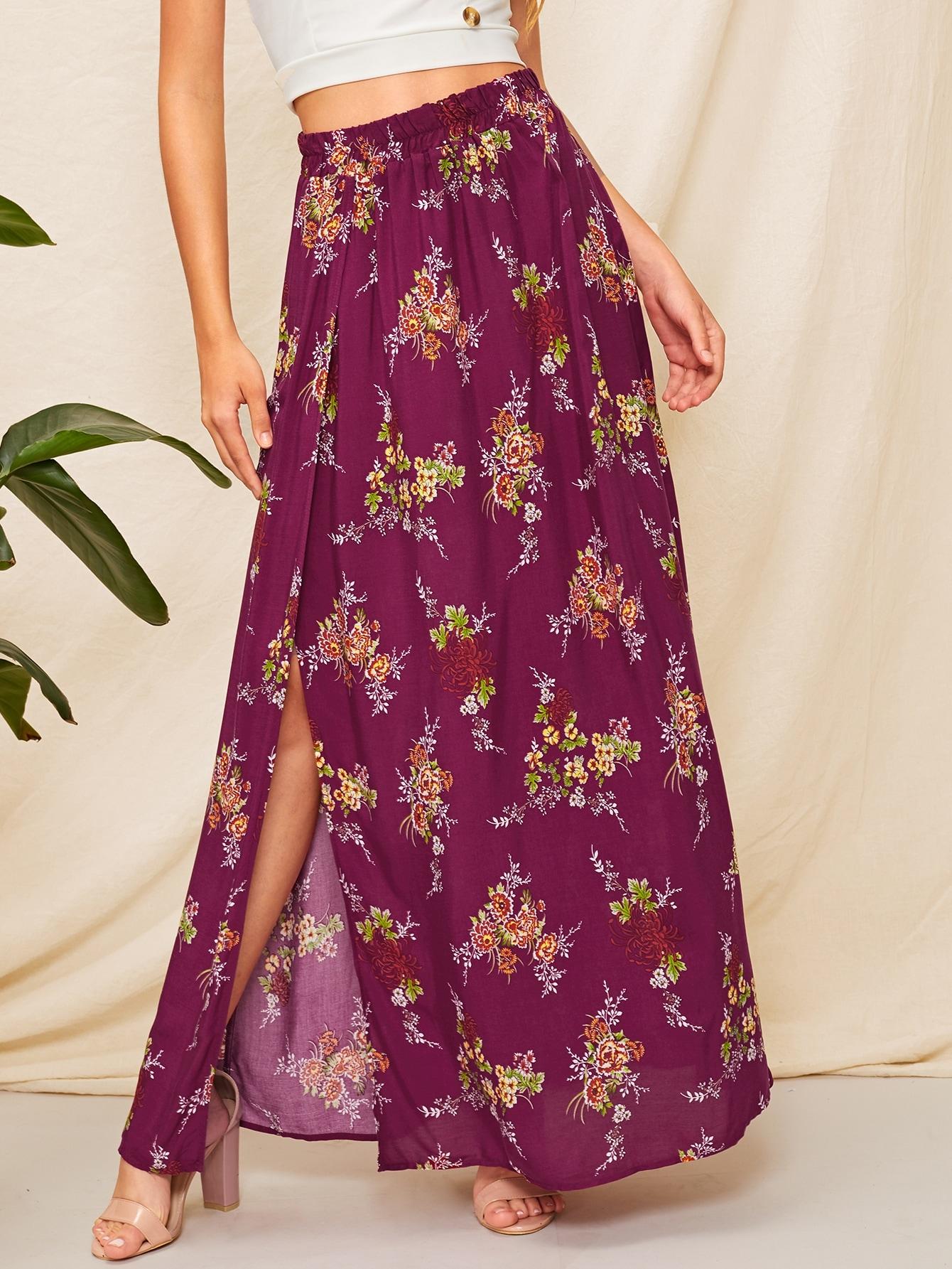 Купить Длинная юбка с цветочным принтом и высоким разрезом, Klaudia, SheIn