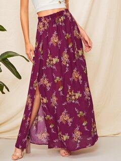 Split Thigh Floral Print Maxi Skirt
