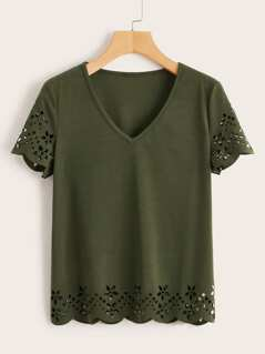 Scallop Laser Cut Tunic Top