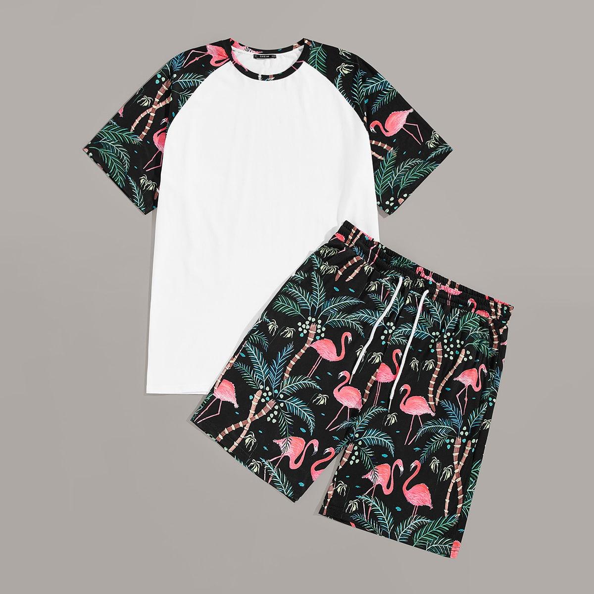 Мужские топ с тропическим принтом и шорты от SHEIN