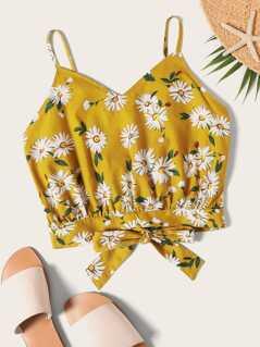 Tie Back Daisy Floral Cami Top