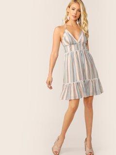 Lace Insert Open Back Striped Halter Dress