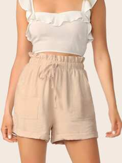 Drawstring Paperbag Waist Pocket Side Shorts
