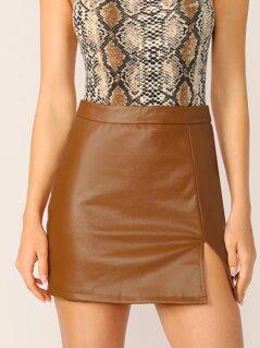 Zip Back Split Front Leather Look Skirt