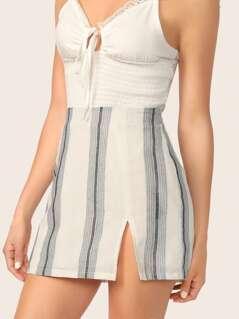 Split Front Striped Skirt