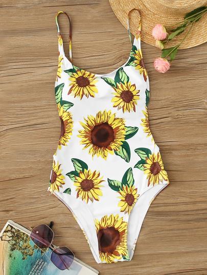 d5a3d15822ef Random Sunflower Print One Piece Swimwear   SHEIN
