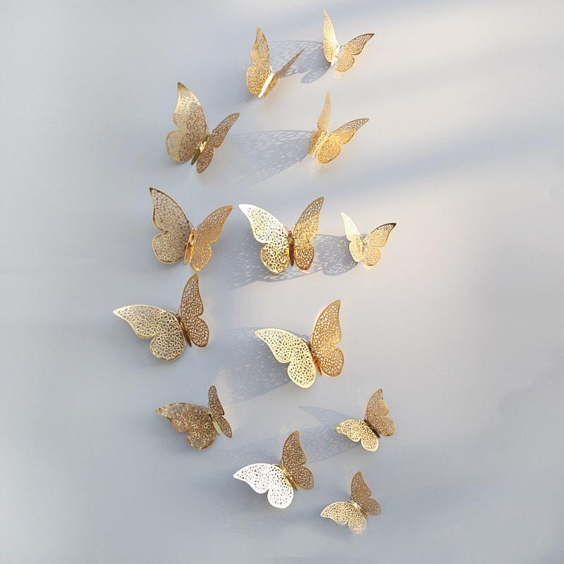 3D Butterfly Wanddecoratie 12st