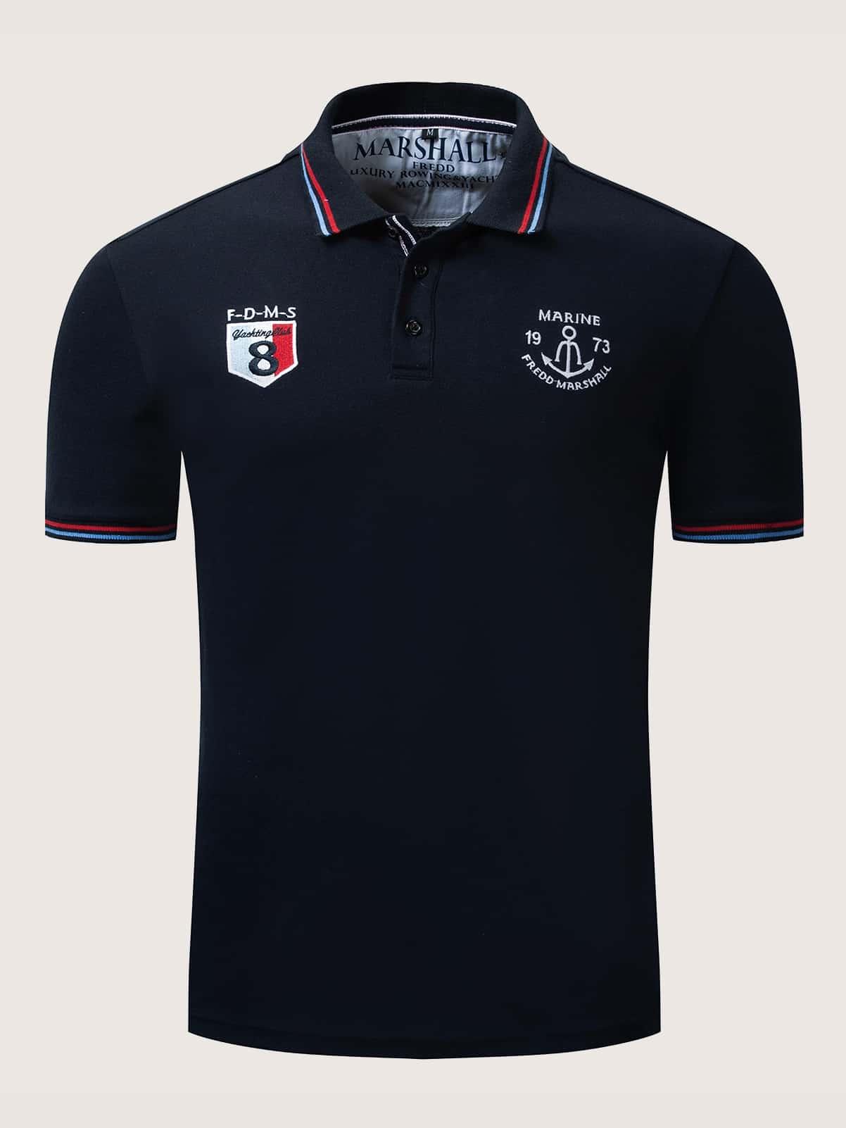 Фото - Мужская поло рубашка с вышивкой и полосатой отделкой от SheIn тёмно-синего цвета