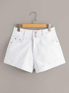 Buttoned Waist Cuffed Denim Shorts