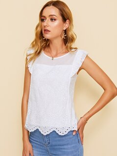 Eyelet Embroidered Ruffle Trim Scallop Hem Top