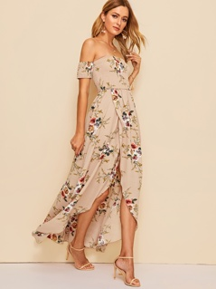 Off Shoulder Botanical Print Shirred Dress