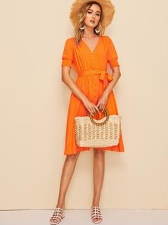 Neon Orange Button Up Shirred Cuff Belted Dress