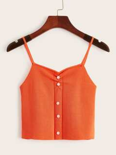 Button Front Ruched Cami Crop Top