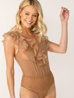 Sheer Ruffle Trim Lace Detail Sleeveless Bodysuit