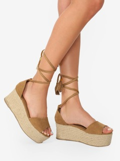 Ankle Wrap Open Toe Jute Platform Wedges