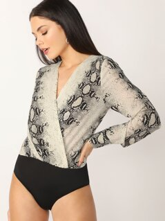 Surplice V-Neck Snake Print Long Sleeve Bodysuit