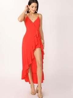 V-Neck Ruffle Hem Spaghetti Strap Skort Maxi Dress