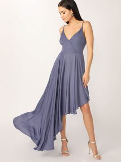 Surplice Neck Asymmetric Hem Slip Dress