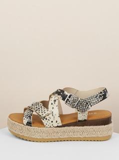 Snake Strappy Buckled Straps Jute Flatform Sandals