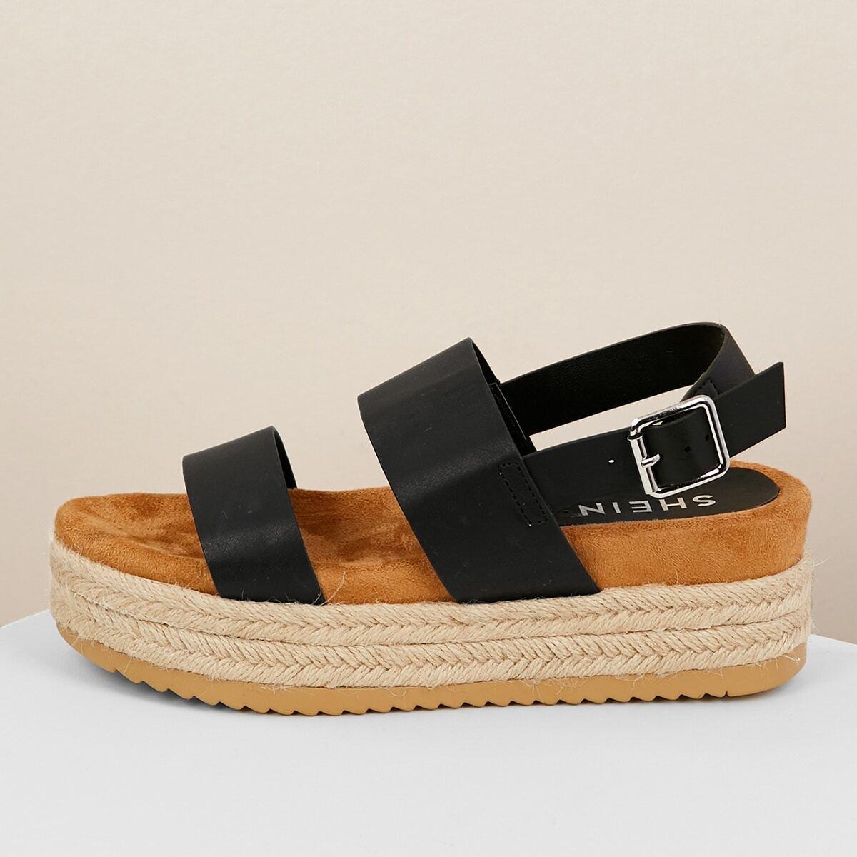 Zwart Casual Sandalen Gesp