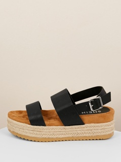 Jute Wrapped Flatform Double Band Buckled Sandals